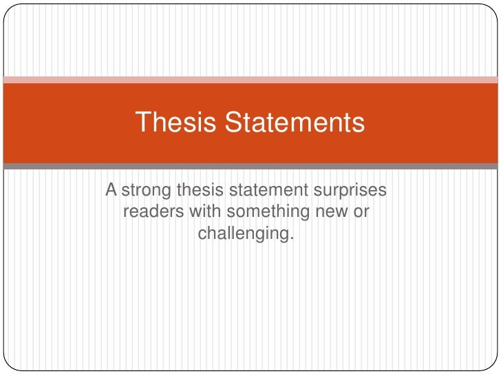 How to make thesis statement strong