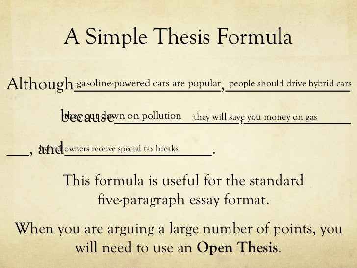 5 components of a thesis statement Writing an effective thesis statement five general rules 1 a thesis statement makes an assertion it is not a simple statement or observation.