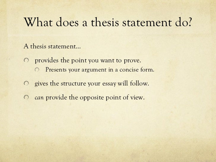 How does a thesis statement look