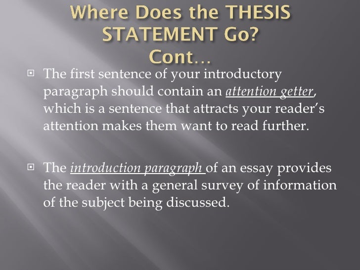 What should be in a thesis statement