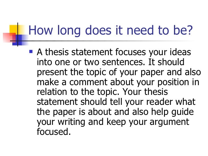 What is a working thesis statement