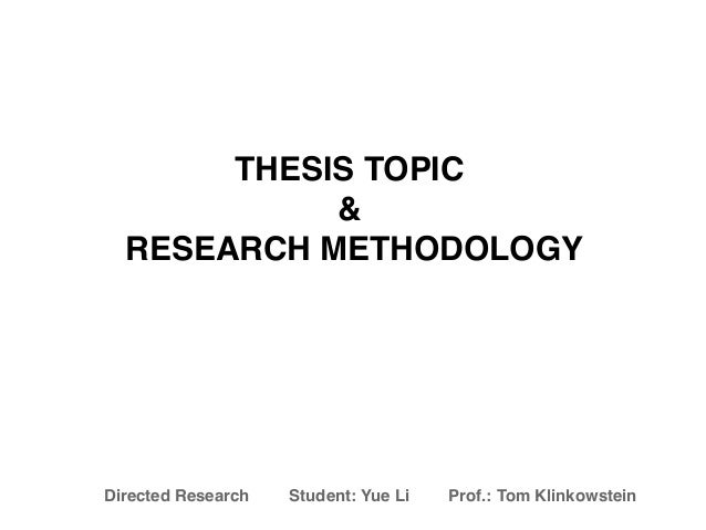 Thesis tools research