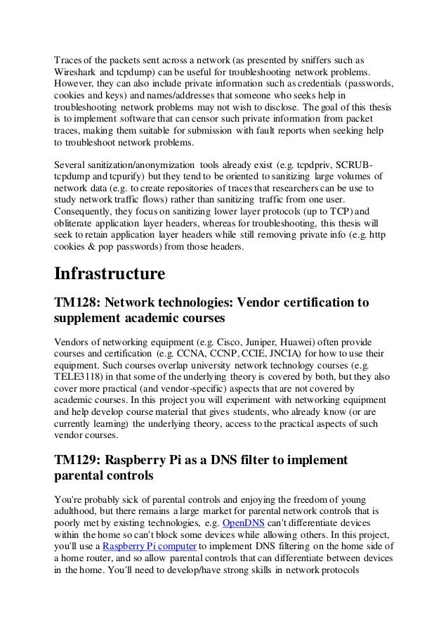 Dissertation topics in networking?