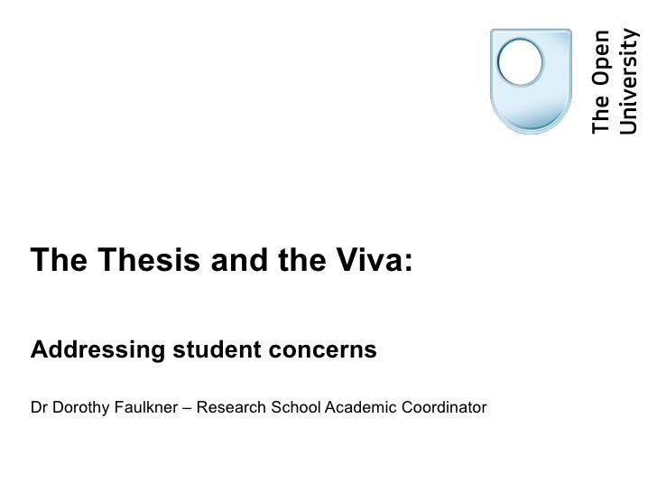 The Thesis and the Viva:Addressing student concernsDr Dorothy Faulkner – Research School Academic Coordinator