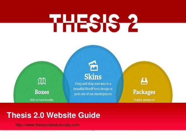 Thesis 2.0 Website Guide  http://www.thesisvideotutorials.com
