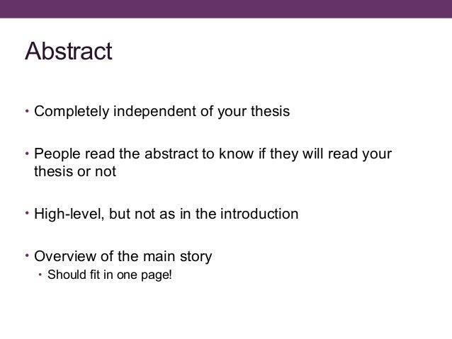 how long should a thesis abstract be