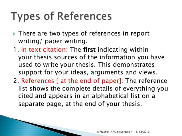 Thesis reference list