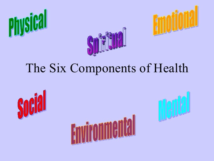 The Six Components of Health Physical Emotional Social Environmental Mental Spiritual