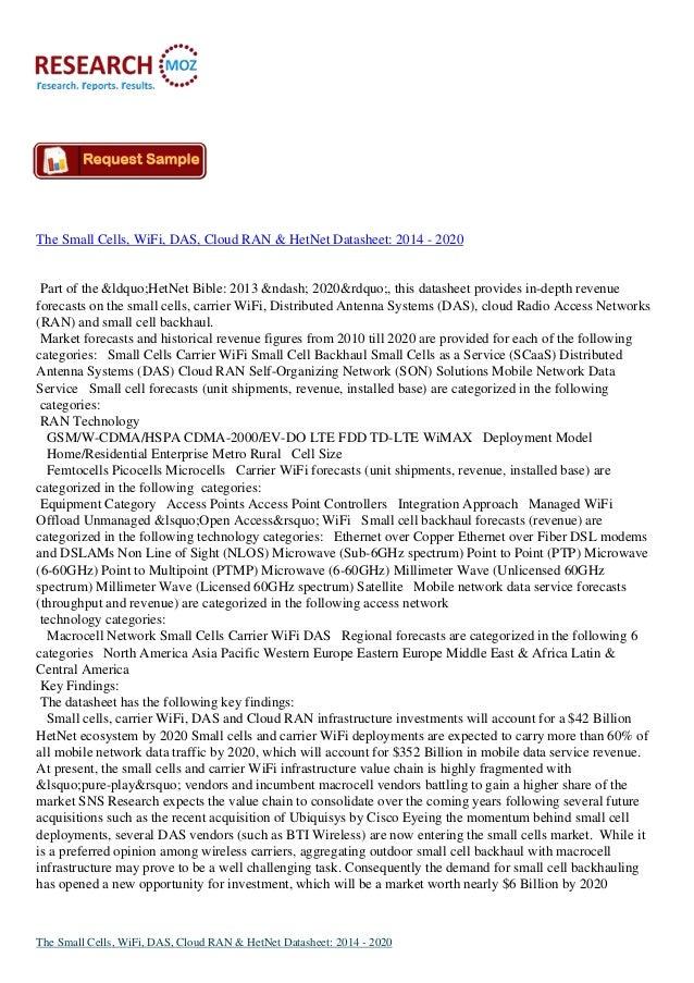 "The Small Cells, WiFi, DAS, Cloud RAN & HetNet Datasheet: 2014 - 2020  Part of the ""HetNet Bible: 2013 – 2020&..."