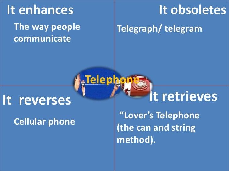 It obsoletes<br />It enhances<br />The way people communicate<br />Telegraph/ telegram<br />Telephone<br /> It retrieves<b...