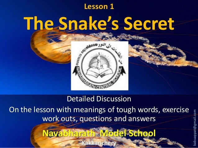 Lesson 1  Detailed Discussion On the lesson with meanings of tough words, exercise work outs, questions and answers  Navab...