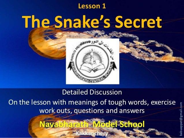 The snakes secret  lesson 1