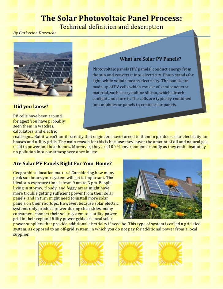 The Solar Photovoltaic Panel Process:                          Technical definition and descriptionBy Catherine Daccache  ...