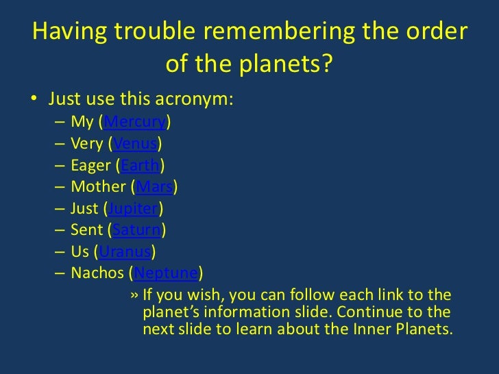 acronym for planets in order -#main