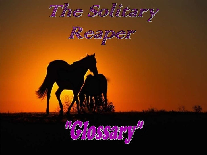 """The Solitary  Reaper """"Glossary"""""""