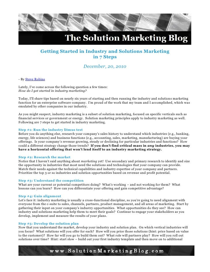 Getting Started in Industry and Solutions Marketing in 7 Steps - The Solution Marketing Blog