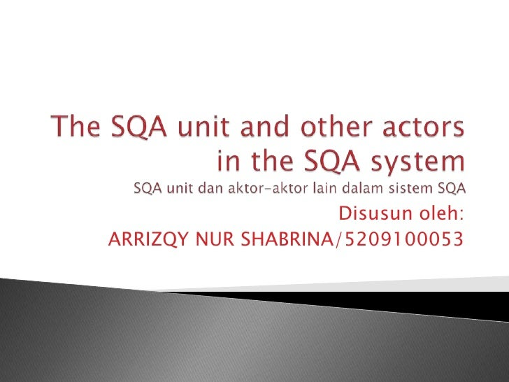The sqa unit and other actors in the sqa system