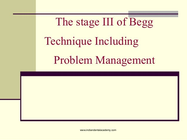 The stage III of Begg Technique Including Problem Management www.indiandentalacademy.com