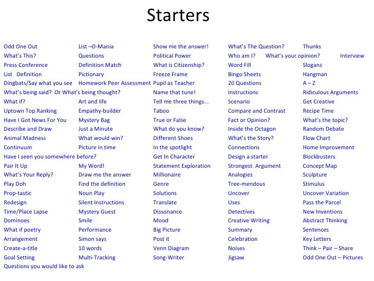Creative writing services sentence starters for high school