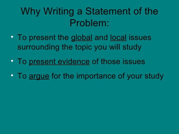 dissertation statement of the problem