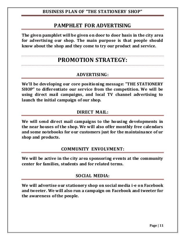 Stationery business plan examples