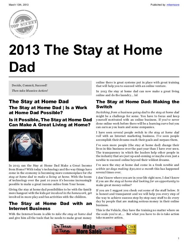The Stay at Home Dad, Is a Work at Home Dad Possible?
