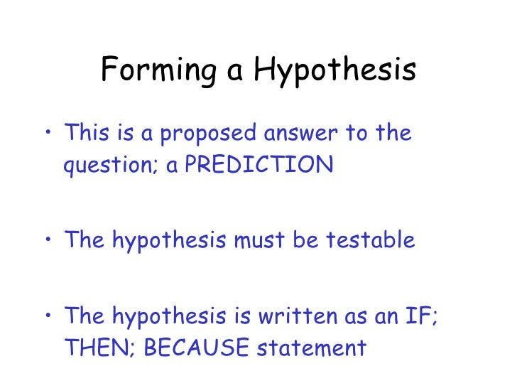 Forming hypothesis