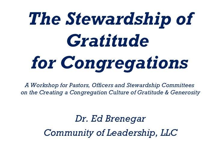 The Stewardship of Gratitude Workshop