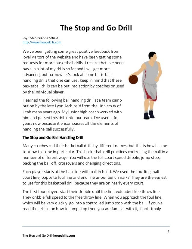 1 The Stop and Go Drill-hoopskills.com The Stop and Go Drill -by Coach Brian Schofield http://www.hoopskills.com We've bee...