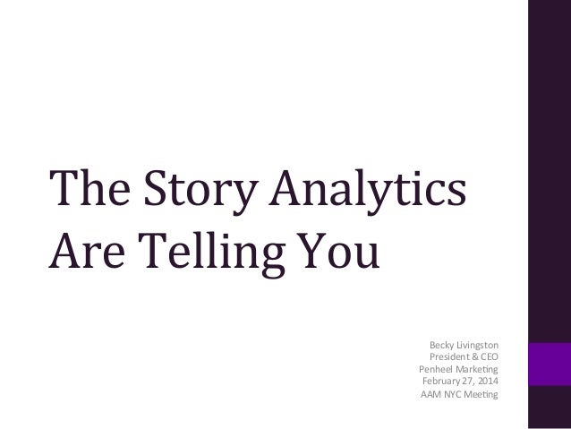 The  Story  Analytics   Are  Telling  You     Becky  Livingston   President  &  CEO     Penheel...