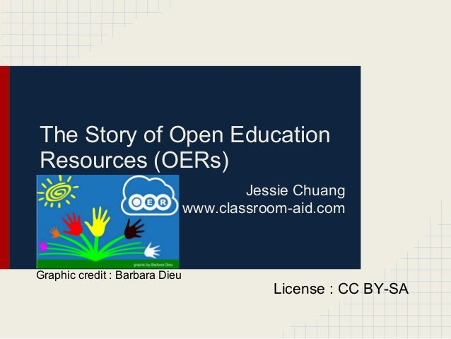 The Story of Open EducationResources (OERs)Jessie Chuangwww.classroom-aid.comLicense : CC BY-SAGraphic credit : Barbara Dieu