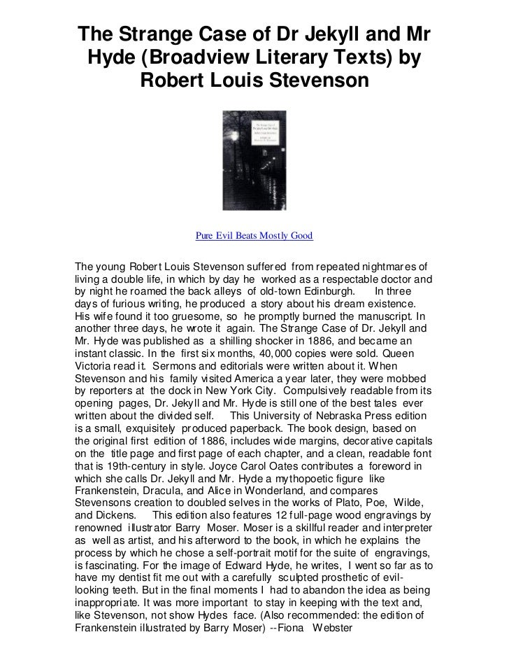 The Strange Case of Dr Jekyll and Mr Hyde (Broadview Literary Texts) by      Robert Louis Stevenson                       ...