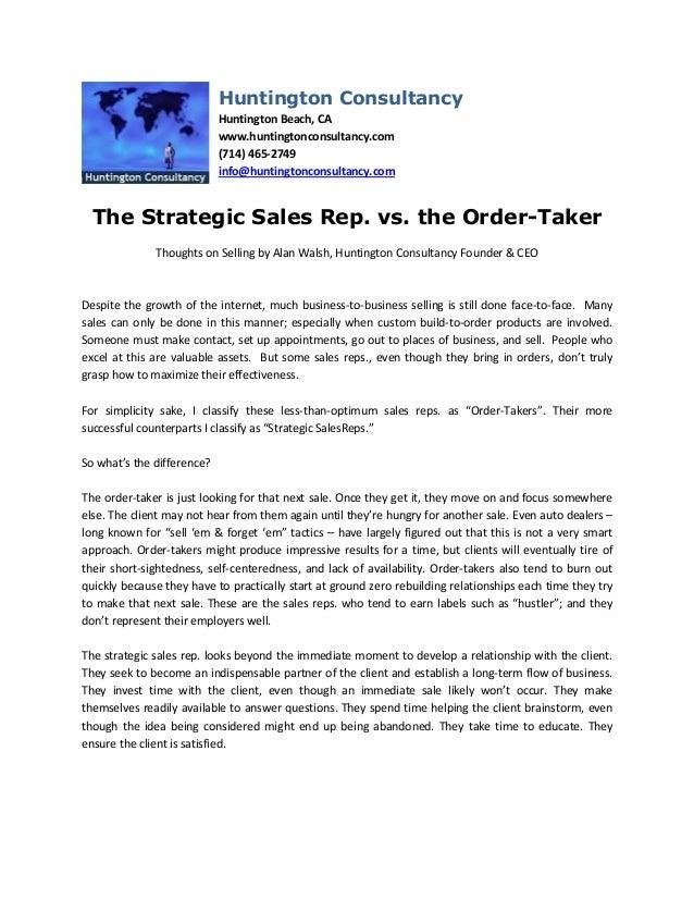 The Strategic Sales Rep. vs. The Order-Taker