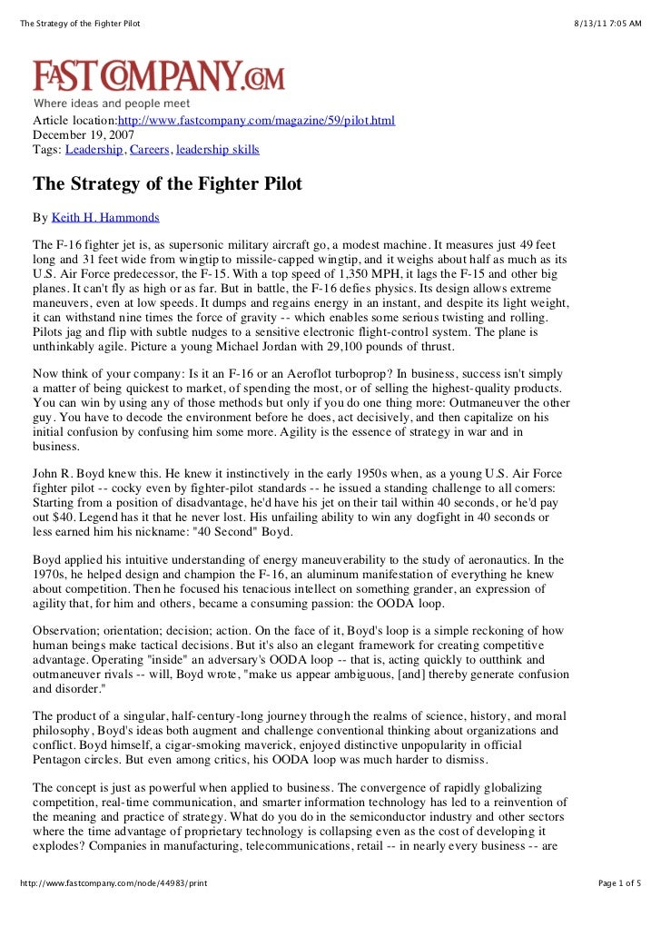 The strategy of the fighter pilot