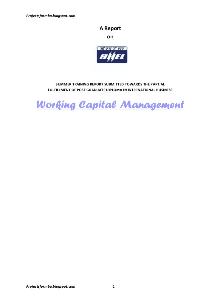 The study of working capital management