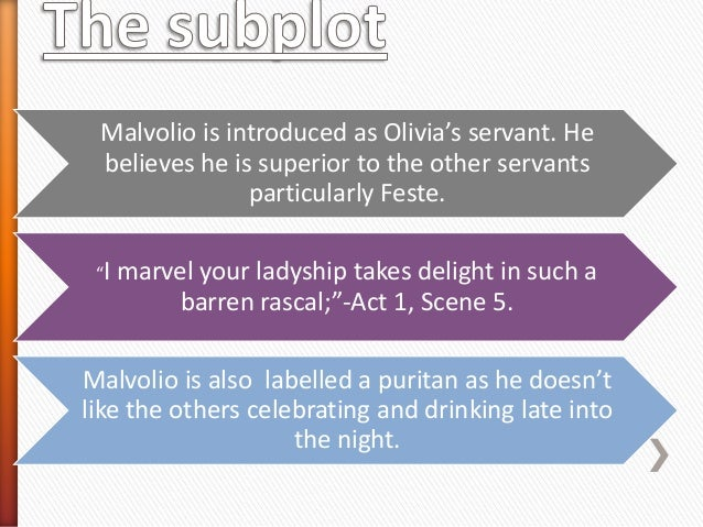 """Malvolio is introduced as Olivia's servant. He believes he is superior to the other servants particularly Feste. """"I  marve..."""