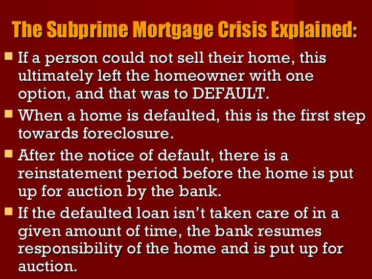 Subprime Mortgage Crisis?