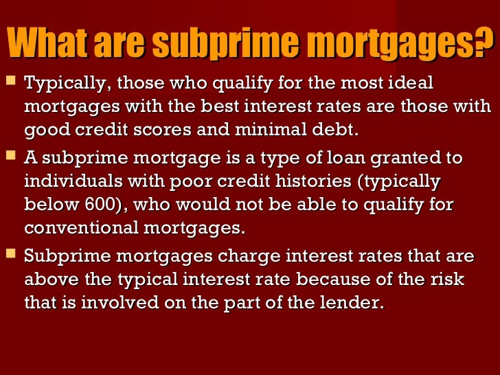 mortgage crisis The guilt for the subprime mortgage financial crisis lies both with the lenders who   thus the bankruptcy of fannie mae and freddie mac could have led to the.