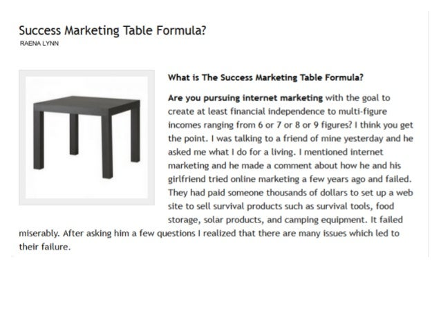 The Success Marketing Table