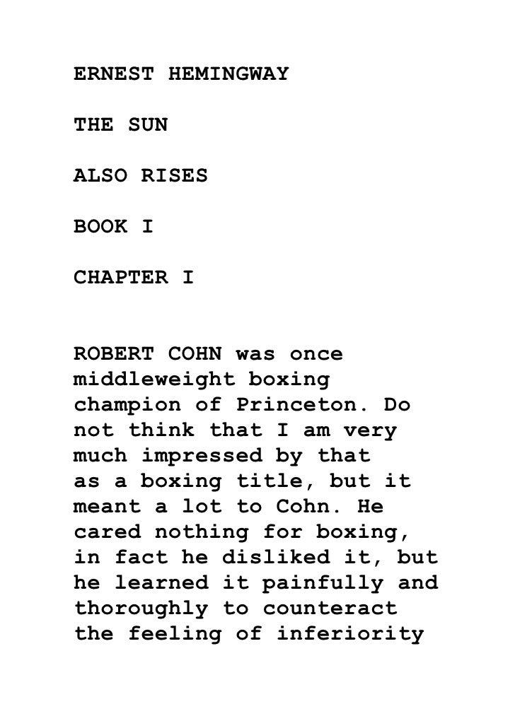 Buy The Sun Also Rises Essay