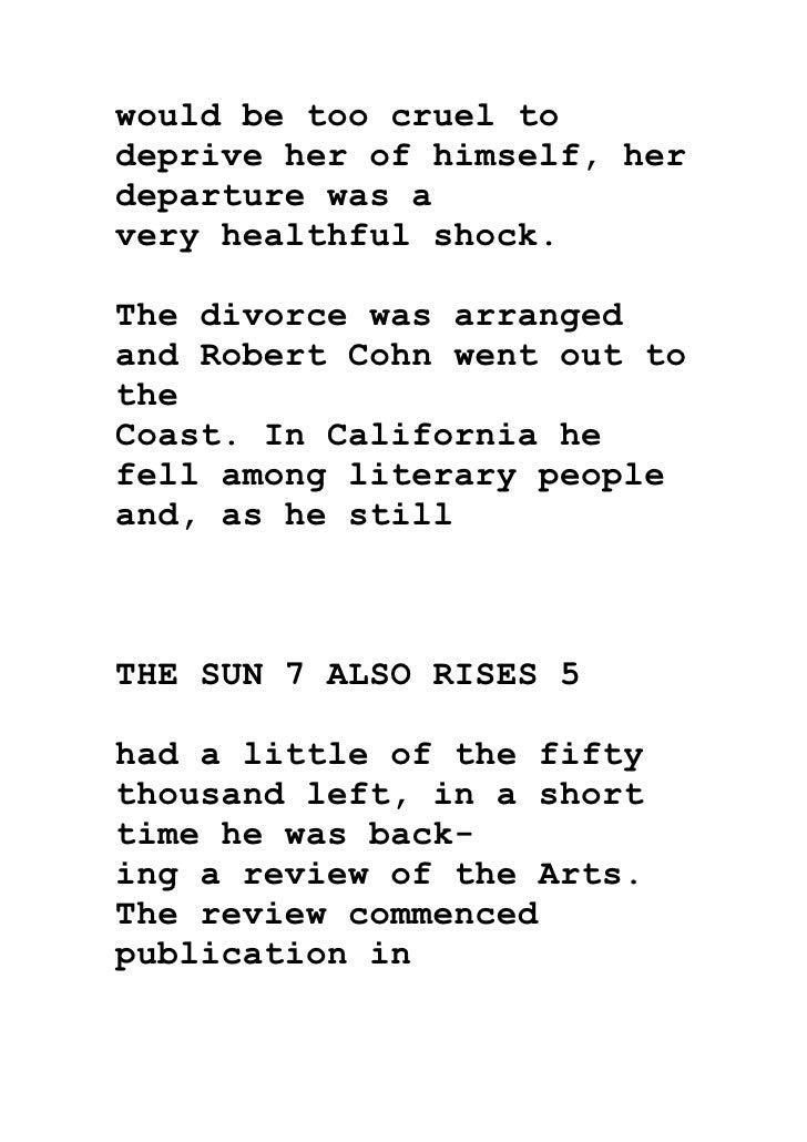 the sun also rises alienation essay