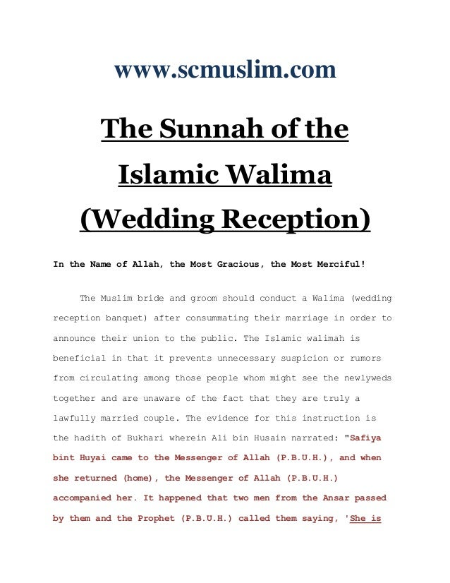 The sunnah of the islamic walima (wedding reception) www ...