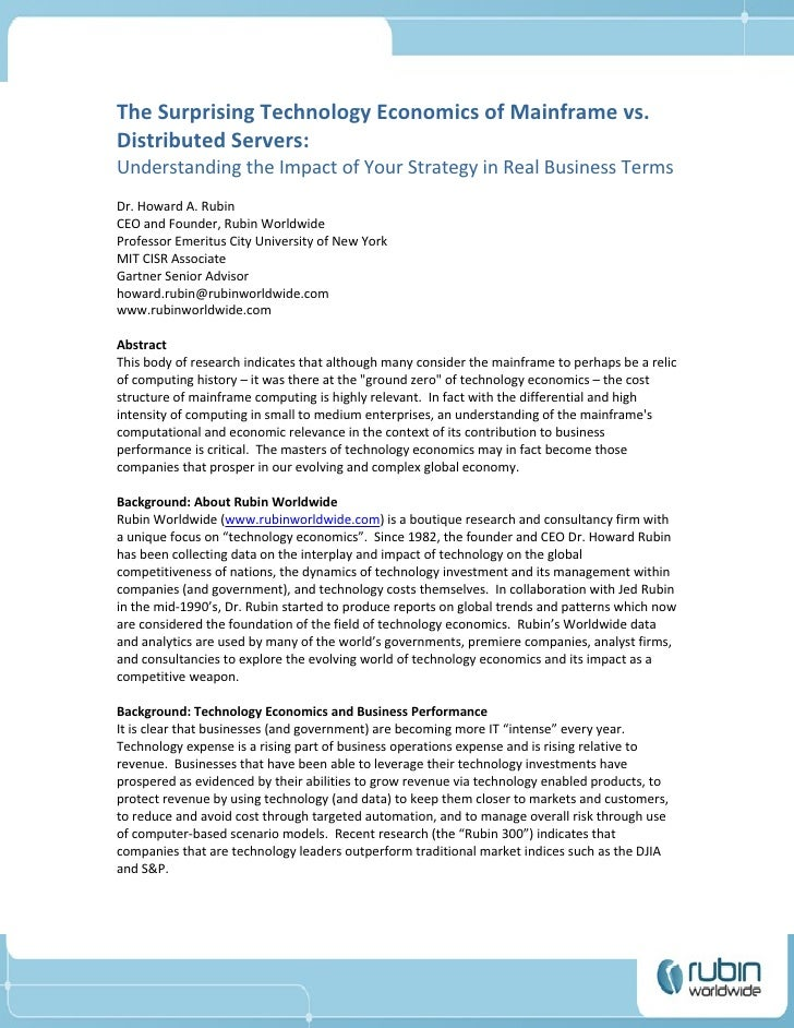 The Suprising Technology Economics of Mainframes vs Distributed Servers