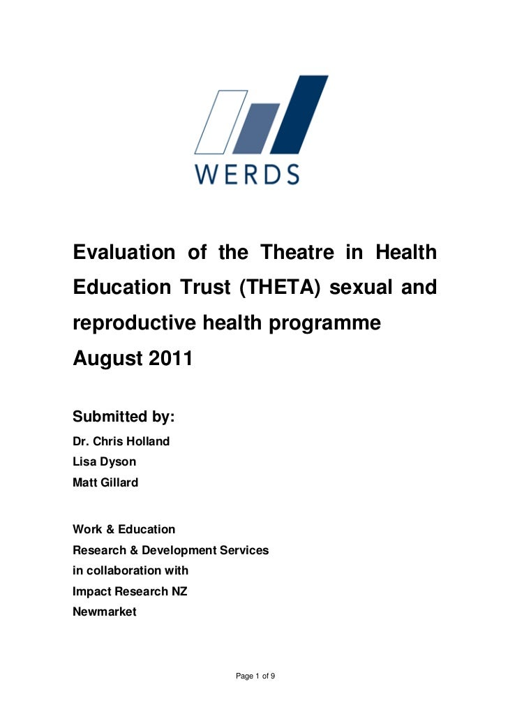 Evaluation of the Theatre in Education Trust (THETA) Sexual and Reproductive Health Programme