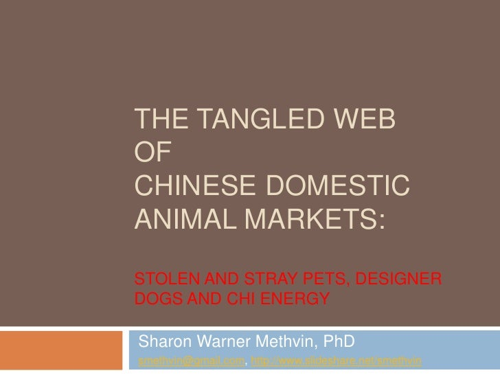 The Tangled Webof Chinese Domestic Animal Markets:Stolen and Stray Pets, Designer Dogs and Chi Energy<br />Sharon Warner M...