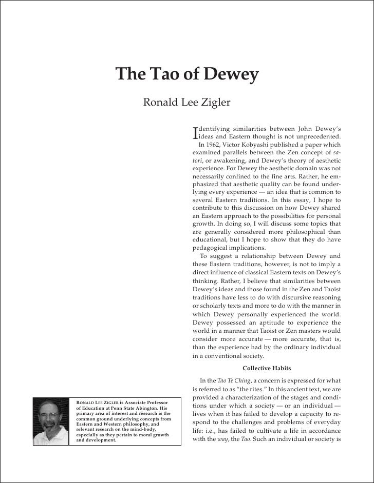 The Tao of Dewey                                Ronald Lee Zigler                                                   dentif...
