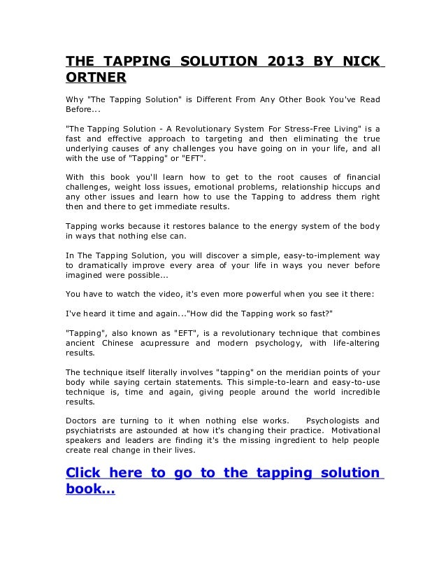 The tapping solution 2013 by nick ortner