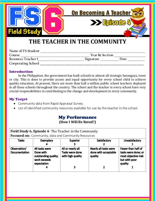 fs 5 episode 2 Field study 5 fs 5 learning assessment and strategies  episode 2 my available test measures name of fs student: jasmin b del rosario.