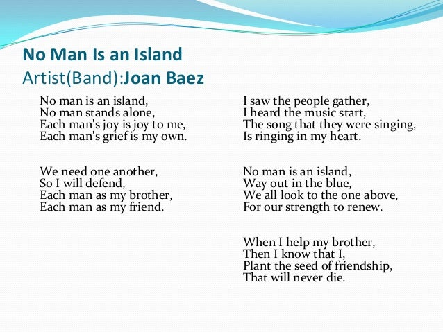 essay on island man poem I late read two verse forms entitled island man and the fringe of the sea  they are both similar in subject but they besides have many differences both verse forms are based on the emotions of people who live near the sea and their feelings towards it.