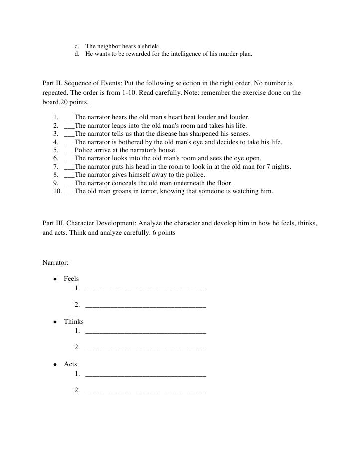 The Tell-Tale Heart (Grade 8) - Free Printable Tests and ...